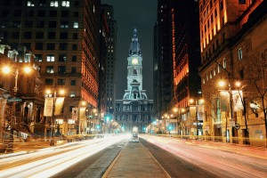 PHILADELPHIA, PENNSYLVANIA - MAR 26: City street view with urban